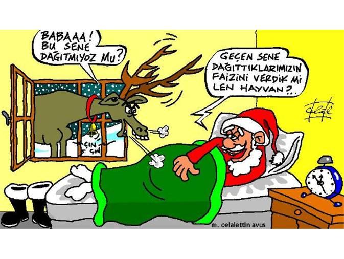 Noel Baba ve Geyik Komik Resimli Mesaj